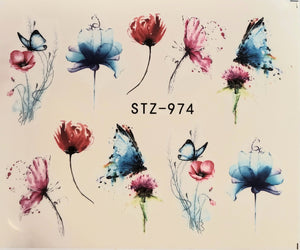 Butterfly water transfer nail decals STZ-974