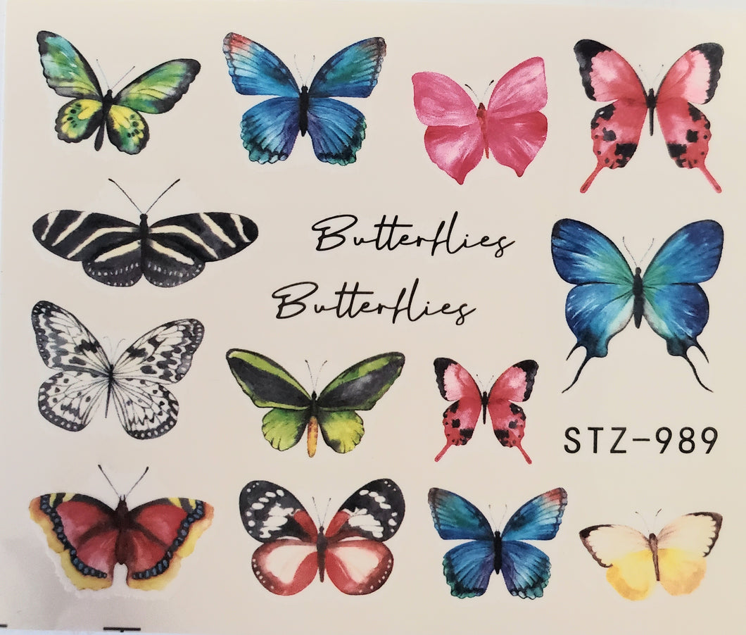 Butterfly water transfer nail decals STZ 989