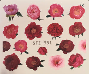 Flower water transfer nail decals STZ 981