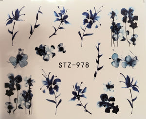 Flower water transfer nail decals STZ-978