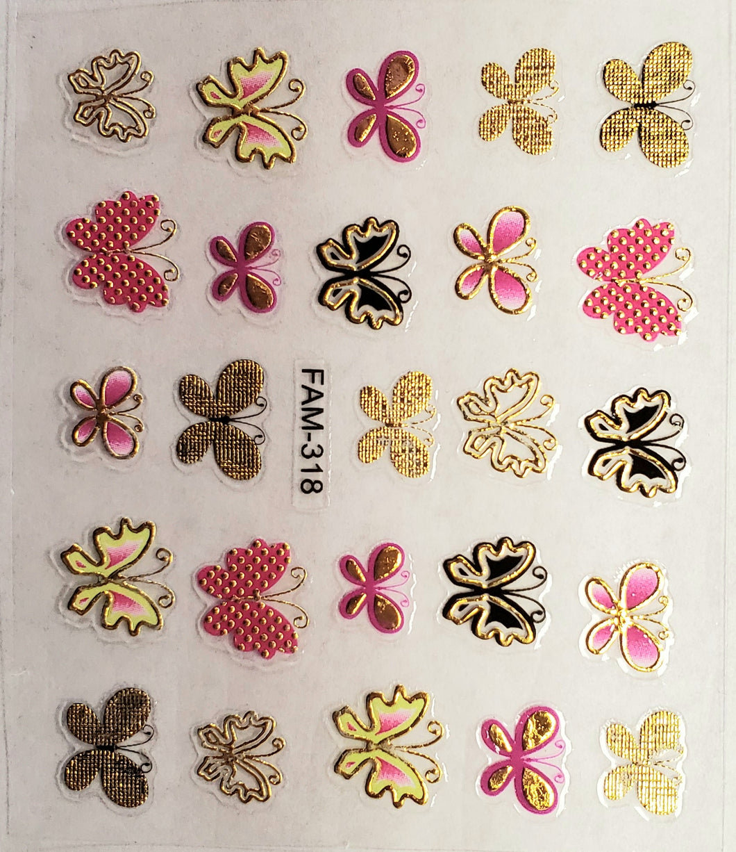 3D gold trim butterfly nail stickers FAM-318