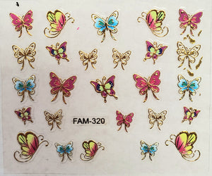 3D gold trim butterfly nail stickers FAM-320