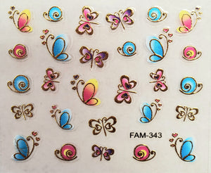 3D gold trim butterfly nail stickers FAM-343