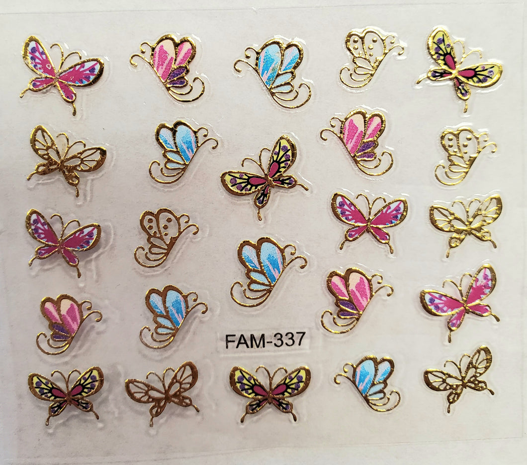 3D gold trim butterfly nail stickers FAM-337