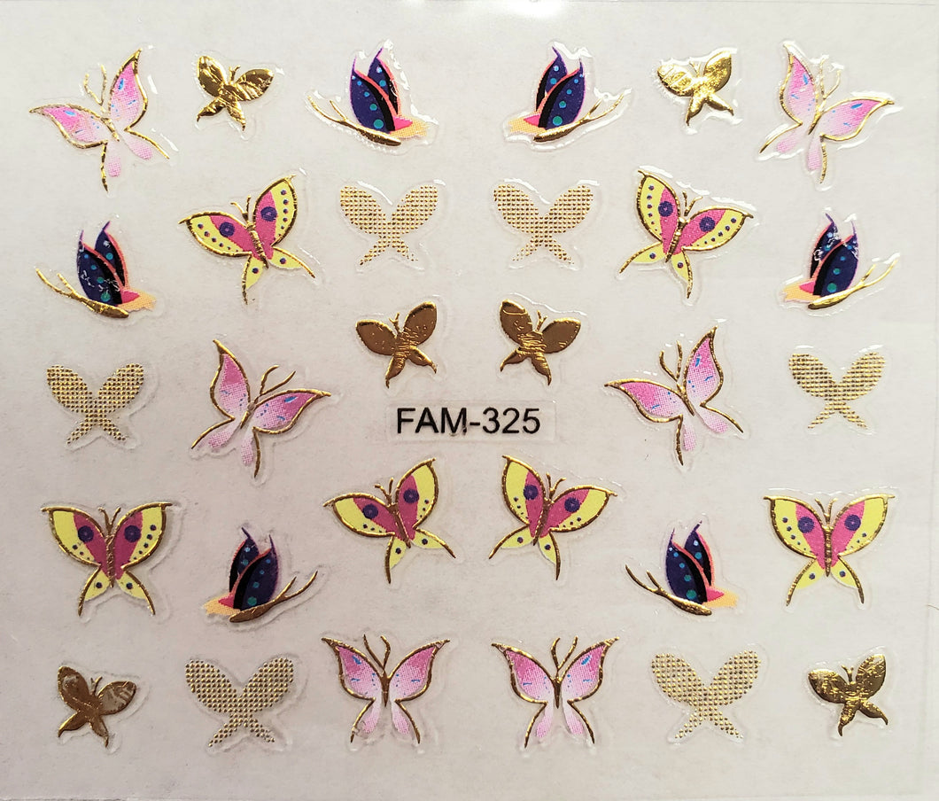 3D gold trim butterfly nail stickers FAM-325