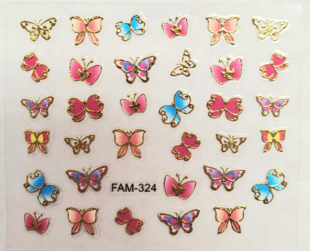 3D gold trim butterfly nail stickers FAM-324