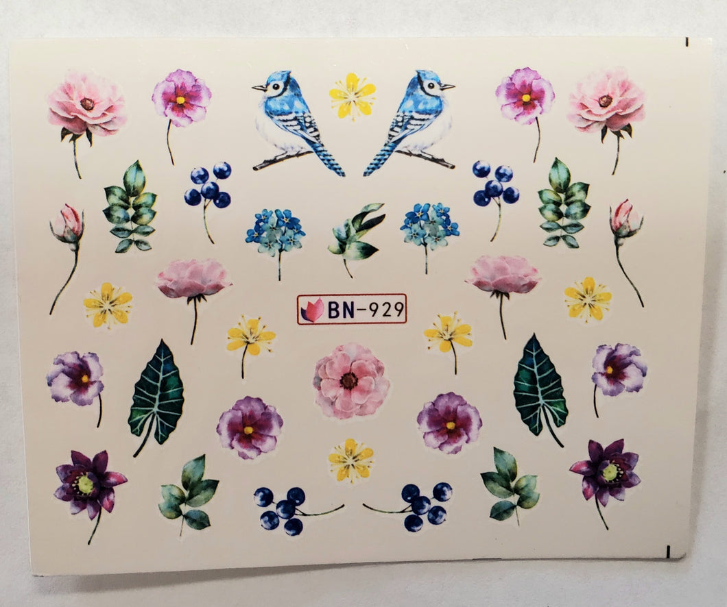 Flower garden water transfer nail decals BN-929
