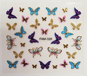 3D gold trim butterfly nail stickers FAM-328