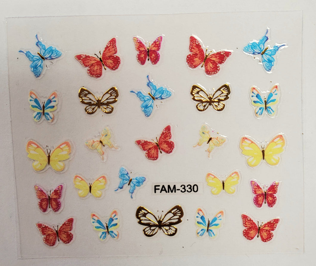 3D gold trim butterfly nail stickers FAM-330