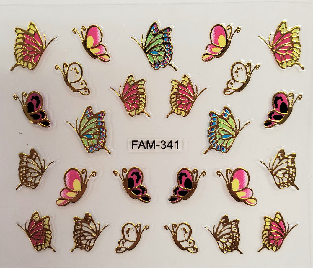 3D gold trim butterfly nail stickers FAM-341