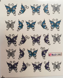 Butterfly water transfer nail decals BLE 1390- 1400