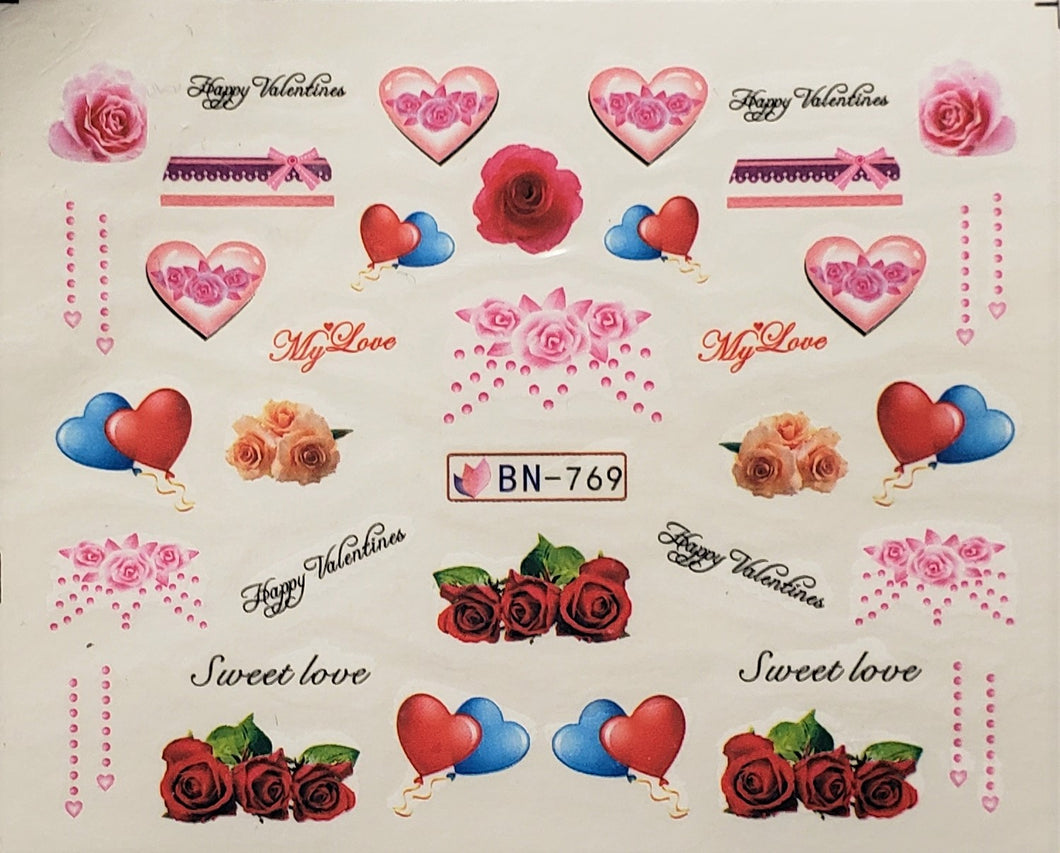 Valentine's Day Water Transfer Nail Decals