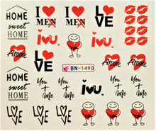 """Love Phrase"" Water transfer nail decals"
