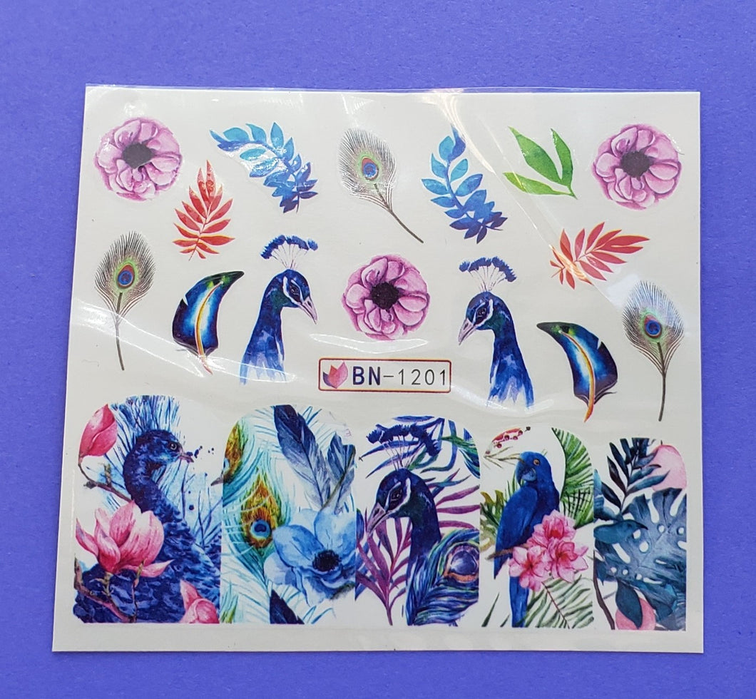 Peacock water transfer nail decals ( 12 styles )