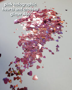Pink holographic hearts and crosses glitter 468