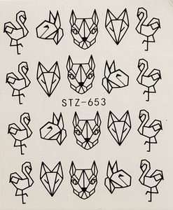 Geometric Animal Shapes Water Transfer Nail Decal