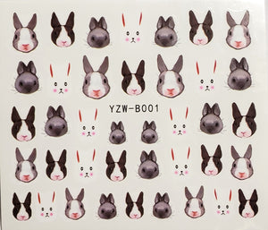 Bunny Water Trasnfer Nail Decal