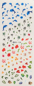 Hawaiian Paradise Water Transfer Nail Decal