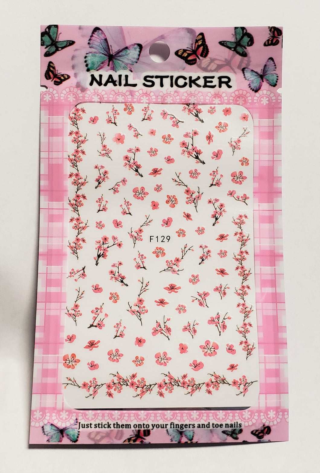 Pink Flower Nail Stickers