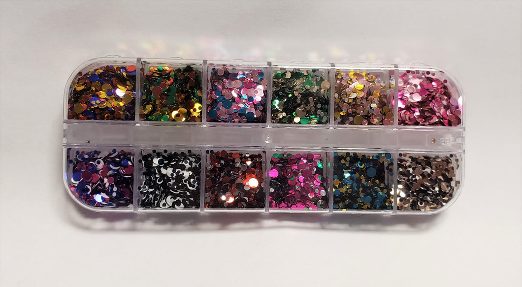 Mix Round Shape Glitter 12pc Set #3