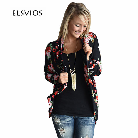 0215e55ce9e ELSVIOS Hot Sale Autumn Elegant Cardigan Coat 2017 Women Floral Printed  Long Sleeve Open Stitch Casual