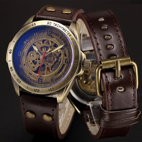 Automatic Mechanical Steampunk Skeleton Wrist Watch
