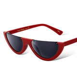 Cat Eye Sunglasses Half Frame Red