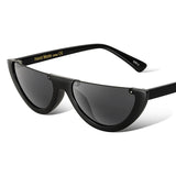 Cat Eye Sunglasses Half Frame Black