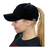 Messy Bun Ponytail Trucker Baseball Hat Black Velvet