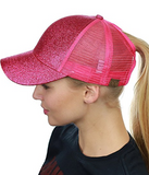 Messy Bun Ponytail Trucker Baseball Hat Hot Pink Sparkle