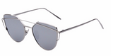 Women's Flat Mirrored Cat Eye Brow Bar Sunglasses