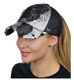 Mermaid Sequin Messy Bun Ponytail Trucker Baseball Hat Black/Silver