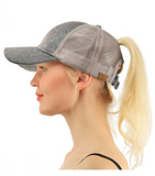 Messy Bun Ponytail Trucker Baseball Hat Glitter Gray