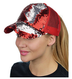 Mermaid Sequin Messy Bun Ponytail Trucker Baseball Hat Red/Silver
