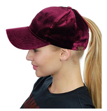 Messy Bun Ponytail Trucker Baseball Hat Burgundy Velvet