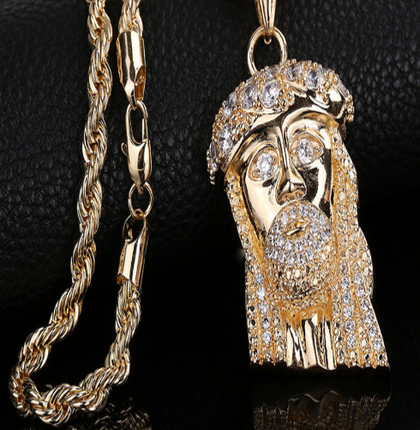 Gold Plated CZ Jesus Pendant Necklace