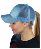 Messy Bun Ponytail Trucker Baseball Hat Glitter Lt Blue
