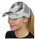Mermaid Sequin Messy Bun Ponytail Trucker Baseball Hat White/Silver