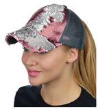 Mermaid Sequin Messy Bun Ponytail Trucker Baseball Hat Pink