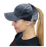Messy Bun Ponytail Trucker Baseball Hat Dark Gray Velvet