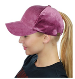 Messy Bun Ponytail Trucker Baseball Hat Dark Rose Velvet