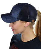 Messy Bun Ponytail Trucker Baseball Hat Navy Sparkle