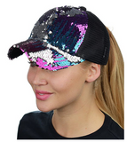 Mermaid Sequin Messy Bun Ponytail Trucker Baseball Hat Rainbow