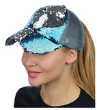 Mermaid Sequin Messy Bun Ponytail Trucker Baseball Hat Teal/Silver
