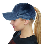 Messy Bun Ponytail Trucker Baseball Hat Denim Velvet