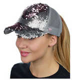 Mermaid Sequin Messy Bun Ponytail Trucker Baseball Hat Silver/Rose