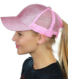 Messy Bun Ponytail Trucker Baseball Hat Pink Sparkle