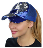 Mermaid Sequin Messy Bun Ponytail Trucker Baseball Hat Royal/Silver