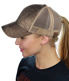 Messy Bun Ponytail Trucker Baseball Hat Smokey Topaz