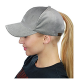 Messy Bun Ponytail Trucker Baseball Hat Light Gray Velvet